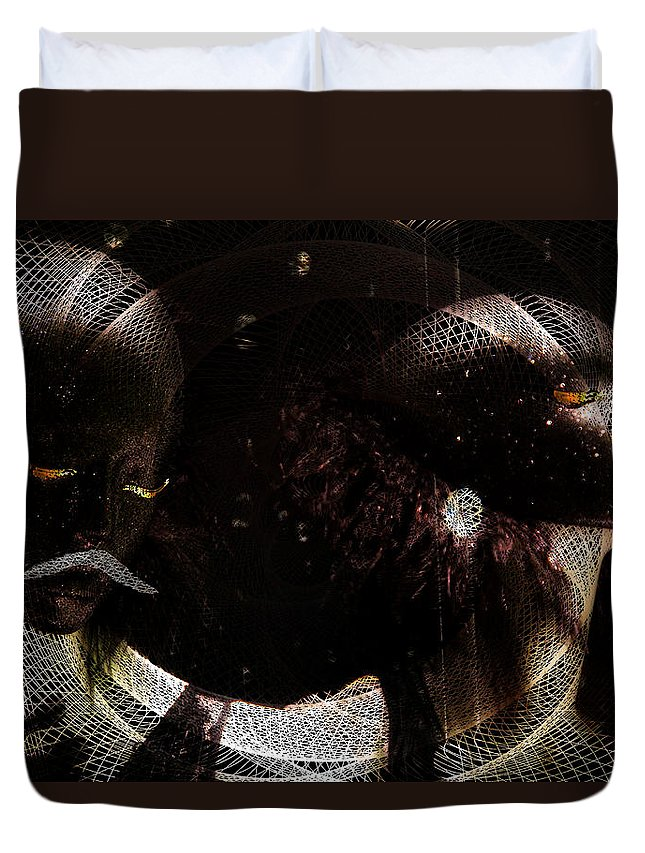 Man Duvet Cover featuring the digital art Hidden Faces-featured In Newbies And Visions Of The Night by Ericamaxine Price