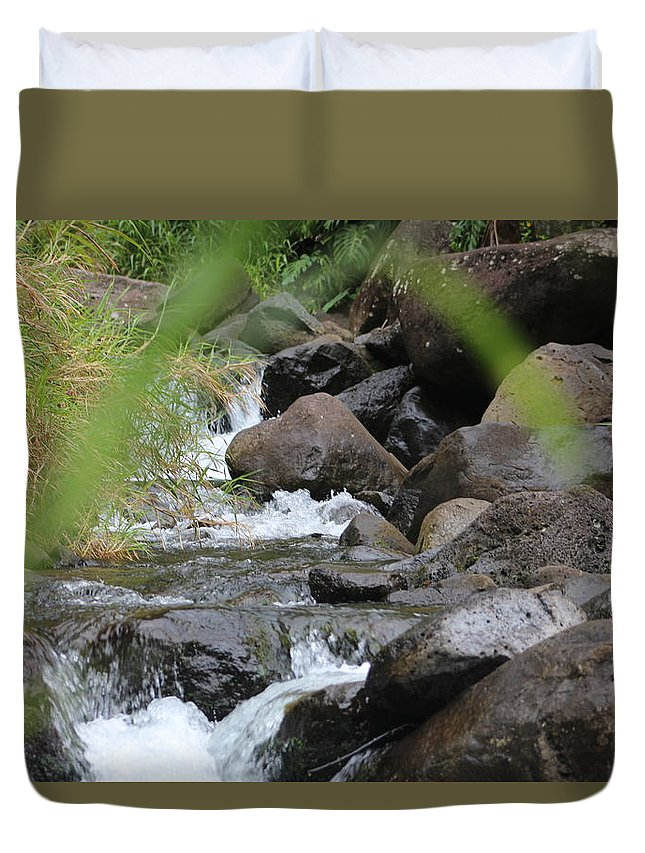 Rocks Duvet Cover featuring the photograph Hidden River by Kevin Willms