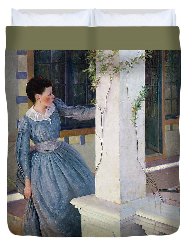 Hide Duvet Cover featuring the painting Hide And Seek by Paul Edouard Rosset Granger