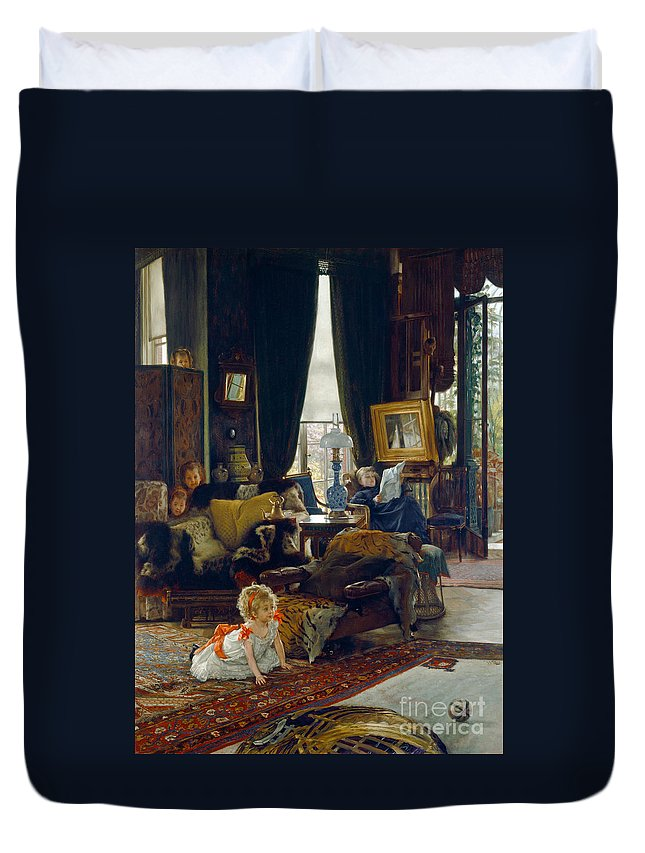 Tissot Duvet Cover featuring the painting Hide And Seek by Tissot