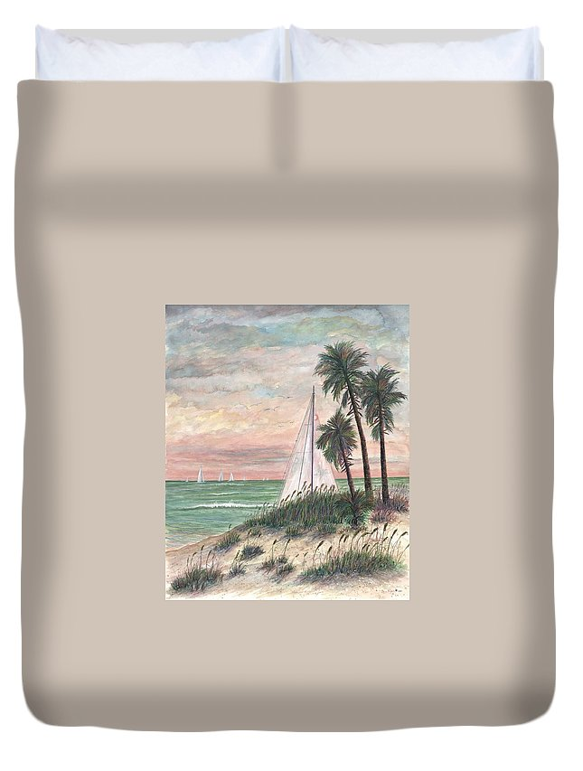 Sailboats; Palm Trees; Ocean; Beach; Sunset Duvet Cover featuring the painting Hideaway by Ben Kiger