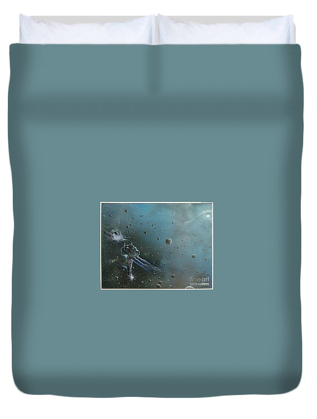 Astro Duvet Cover featuring the painting Hiding In The Field by Murphy Elliott