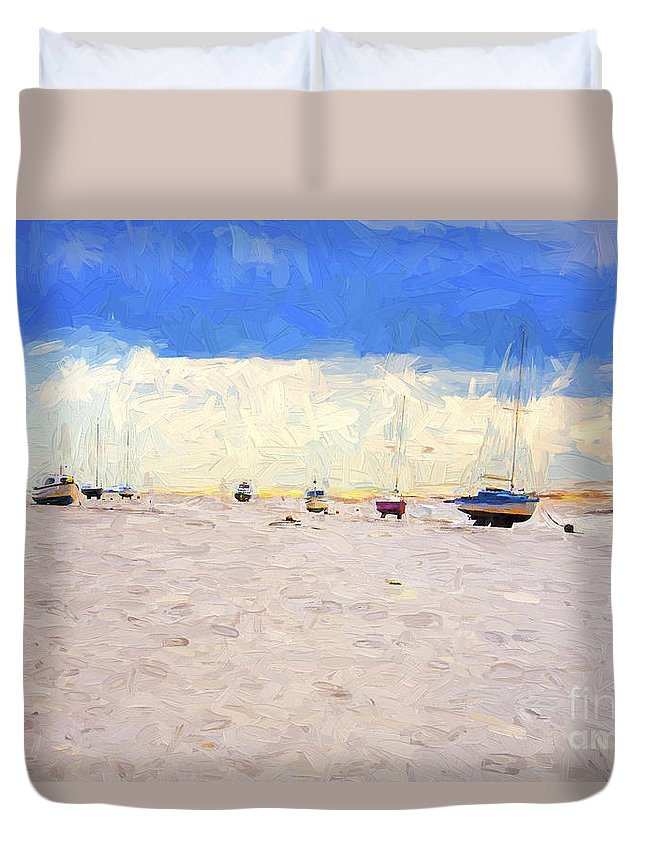 Yachts Duvet Cover featuring the photograph High and dry by Sheila Smart Fine Art Photography