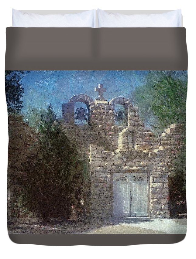 Architecture Duvet Cover featuring the painting High Desert Church by Jeffrey Kolker