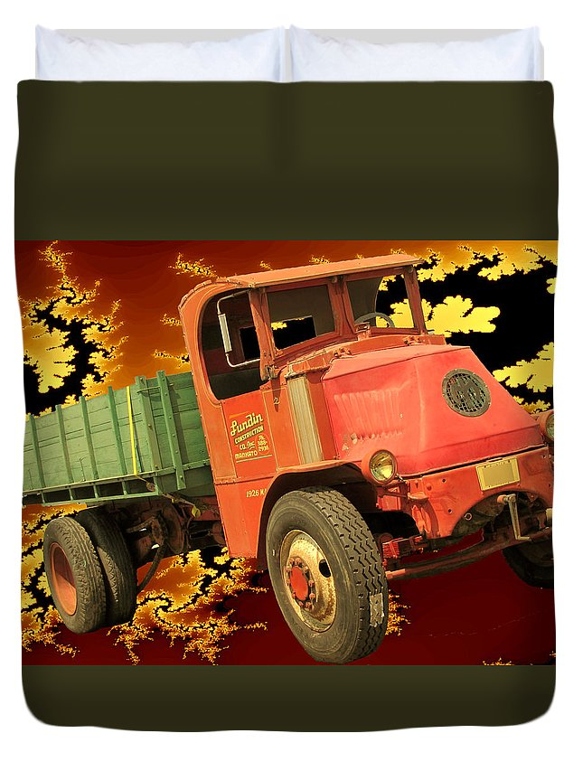 Vintage Duvet Cover featuring the digital art High Flying Mack by Tristan Armstrong