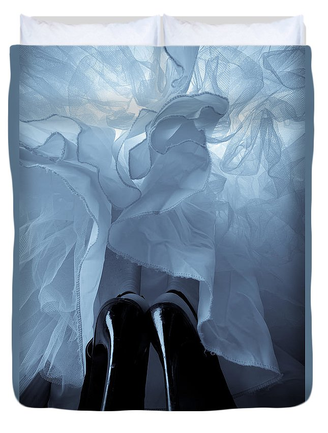 High Heels Duvet Cover featuring the photograph High Heels And Petticoats by Scott Sawyer