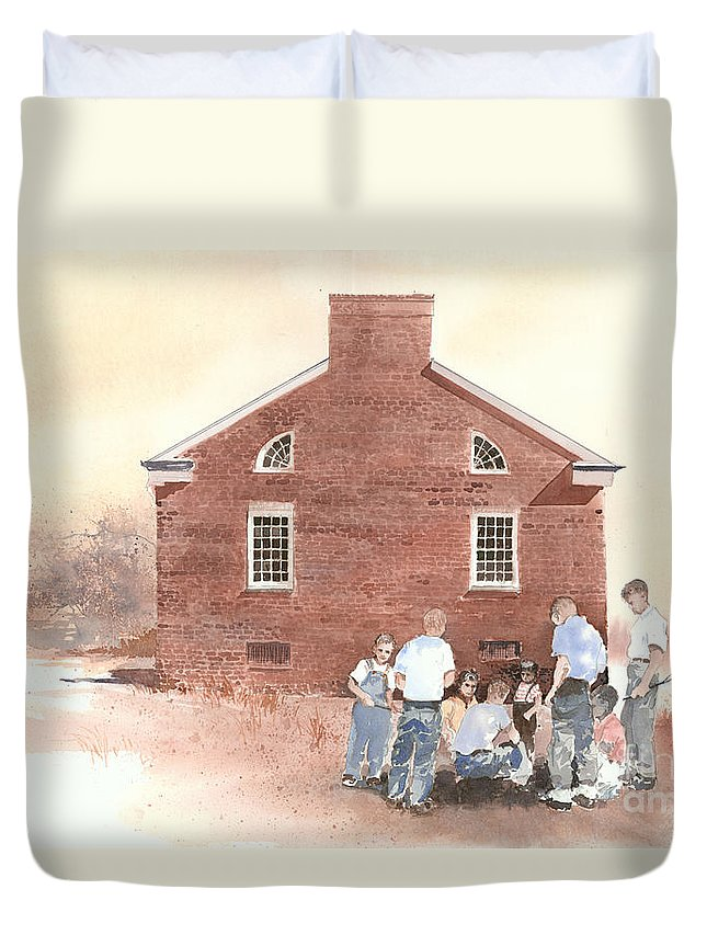It Is Lunch Hour At The Historic Tidal Schoolhouse Near Drumright Duvet Cover featuring the painting High Noon Shootout At The Tidal School by Monte Toon