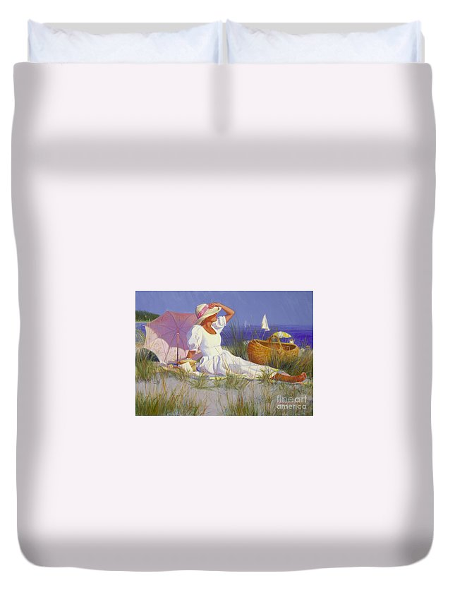 Impressionist Duvet Cover featuring the painting High On A Dune by Candace Lovely