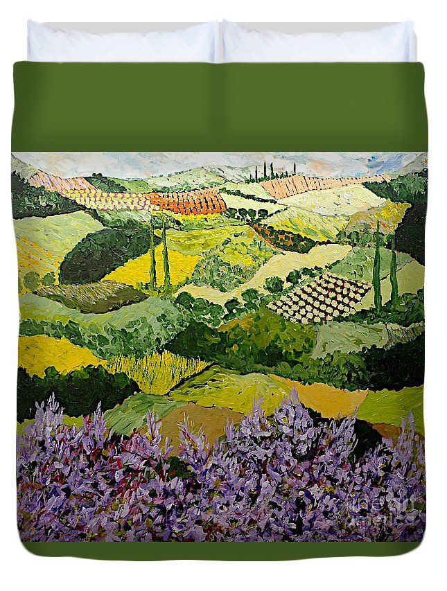 Landscape Duvet Cover featuring the painting High Ridge by Allan P Friedlander