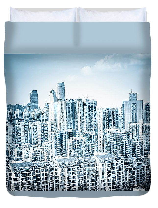 Residential District Duvet Cover featuring the photograph High Rise Residential Area by Aaaaimages