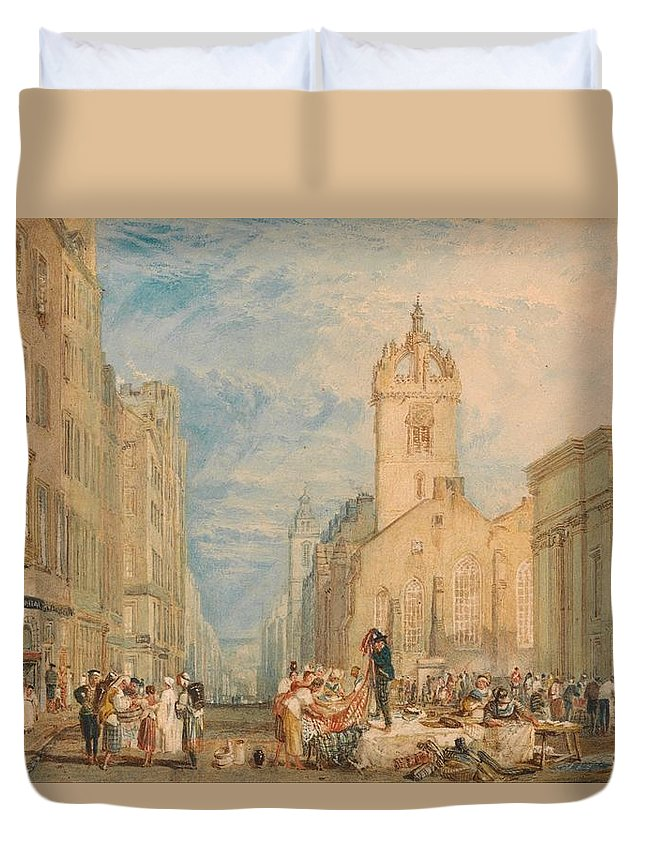 1818 Duvet Cover featuring the painting High Street - Edinburgh by JMW Turner
