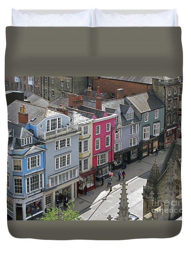 Oxford Duvet Cover featuring the photograph High Street by Ann Horn