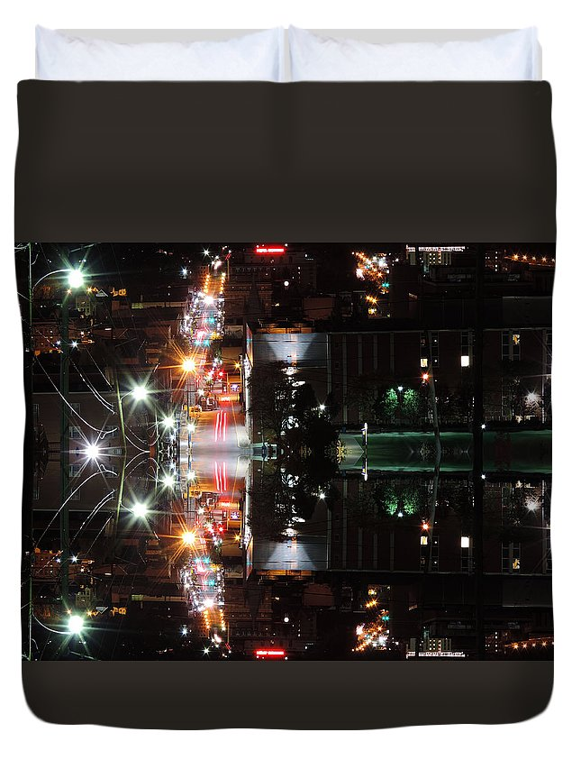 City Duvet Cover featuring the photograph High Street Reflection by Cityscape Photography