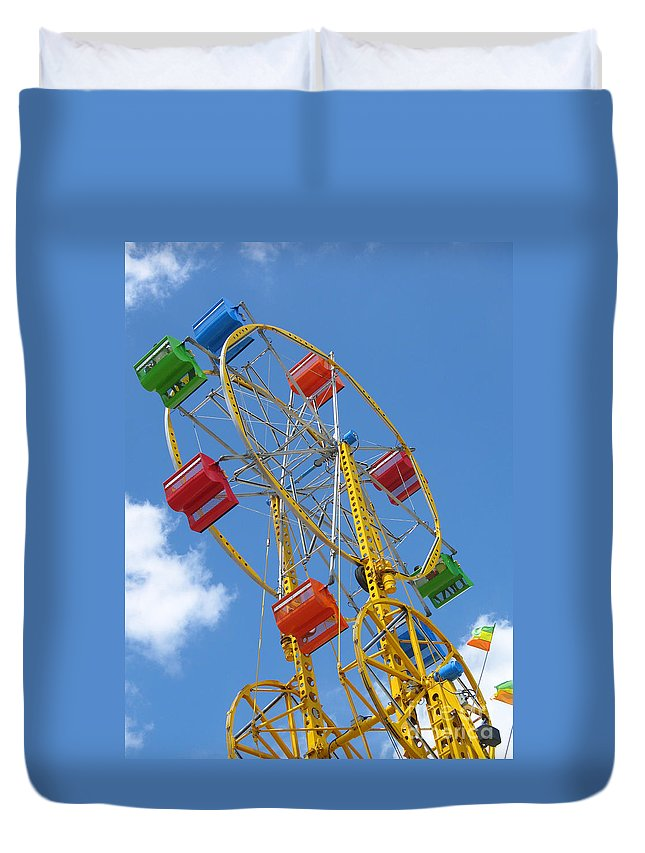 Carnival Duvet Cover featuring the photograph High Wheeling by Ann Horn