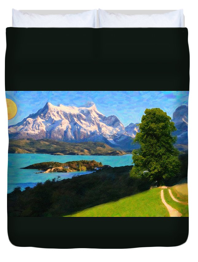 Highlands Of Chile Lago Pehoe In Torres Del Paine Chile Duvet Cover featuring the painting Highlands Of Chile Lago Pehoe In Torres Del Paine Chile by MotionAge Designs