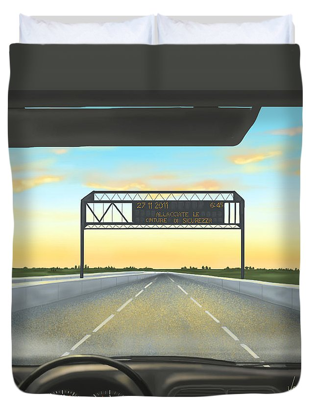 Ipad Duvet Cover featuring the painting Highway by Veronica Minozzi