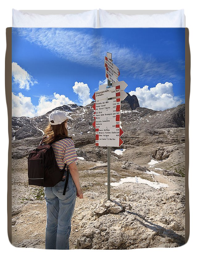 Alpine Duvet Cover featuring the photograph Hiker And Directions by Antonio Scarpi