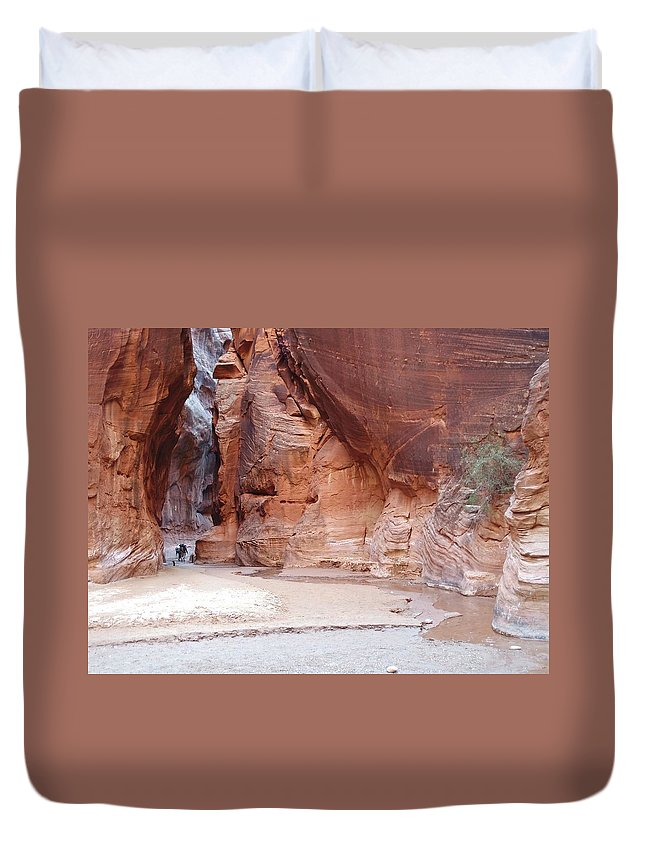 Tranquility Duvet Cover featuring the photograph Hikers Entering Buckskin Gulch From by Photograph By Michael Schwab
