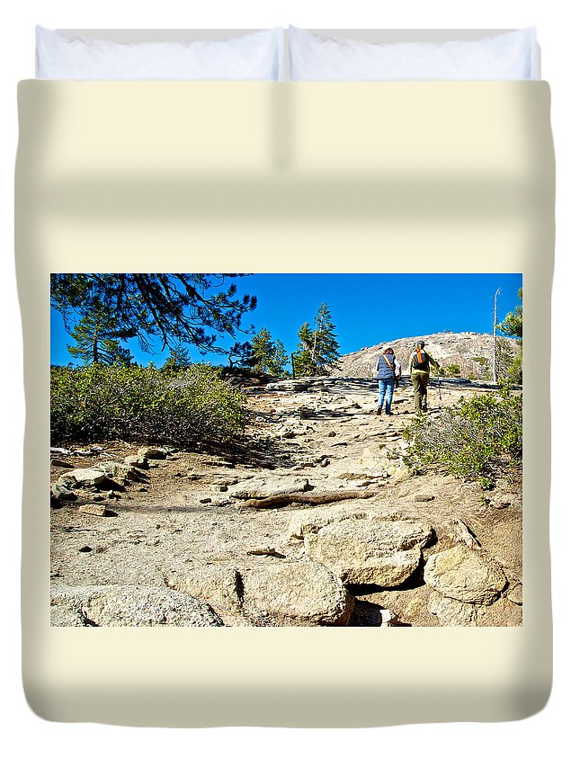 Hikers On Sentinel Dome Trail In Yosemite Np Duvet Cover featuring the photograph Hikers On Sentinel Dome Trail In Yosemite Np-ca by Ruth Hager