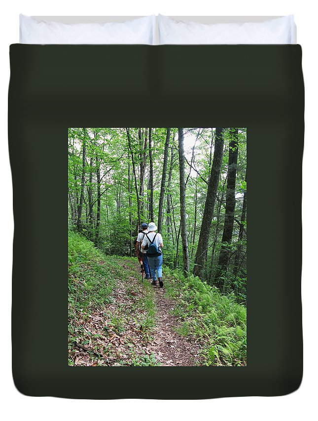 Group Of People Duvet Cover featuring the photograph Hiking Group by Melinda Fawver