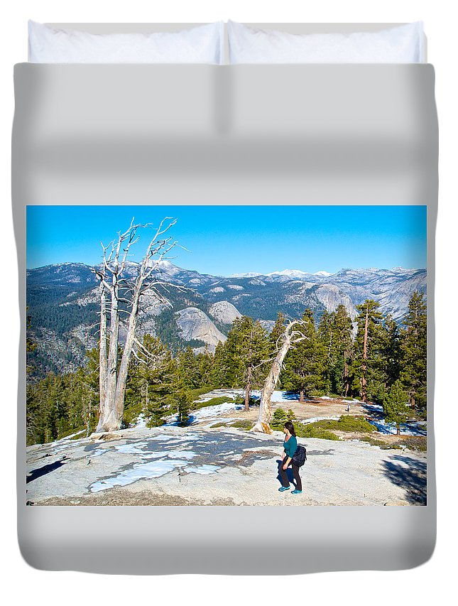 Hiking On Barren Rock On Sentinel Dome In Yosemite Np Duvet Cover featuring the photograph Hiking On Barren Rock On Sentinel Dome In Yosemite Np-ca by Ruth Hager