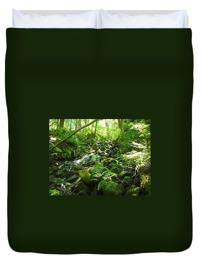 Pocono Duvet Cover featuring the photograph Hiking The Falls by Two Bridges North