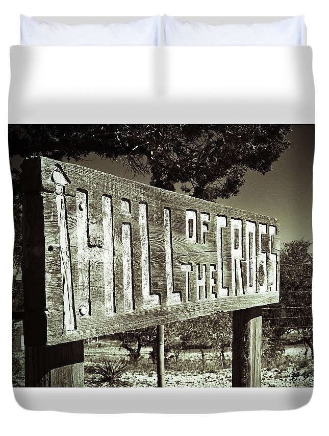 Black And White Duvet Cover featuring the photograph Hill Of The Cross by Brooke Fuller