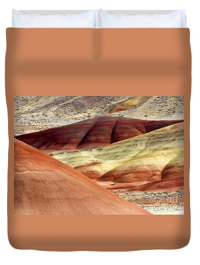 Painted Hills Duvet Cover featuring the photograph Hills Of Red by Mike Dawson