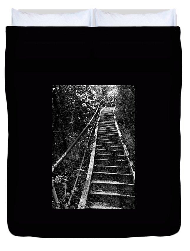 Hillside Duvet Cover featuring the photograph Hillside Stairs by Sean Kirkpatrick