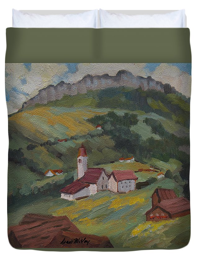 Hilltop Duvet Cover featuring the painting Hilltop Village Switzerland by Diane McClary