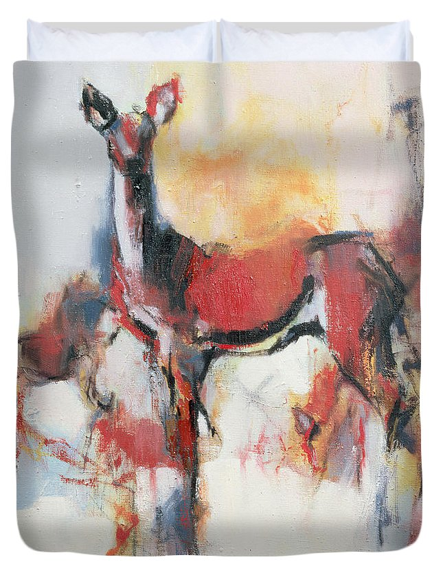 Female Deer Duvet Cover featuring the painting Hinds In Winter by Mark Adlington