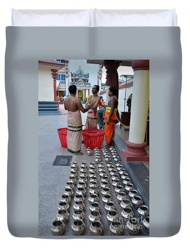Hindu Duvet Cover featuring the photograph Hindu Priests Prepare Offering To Gods by Imran Ahmed