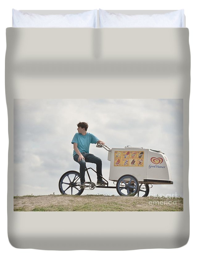 Bicycle Duvet Cover featuring the photograph His First Business by Elaine Berger