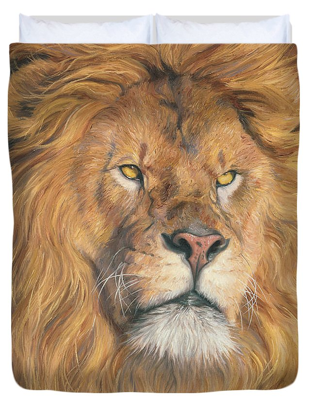 Lion Duvet Cover featuring the painting His Majesty - Detail by Lucie Bilodeau