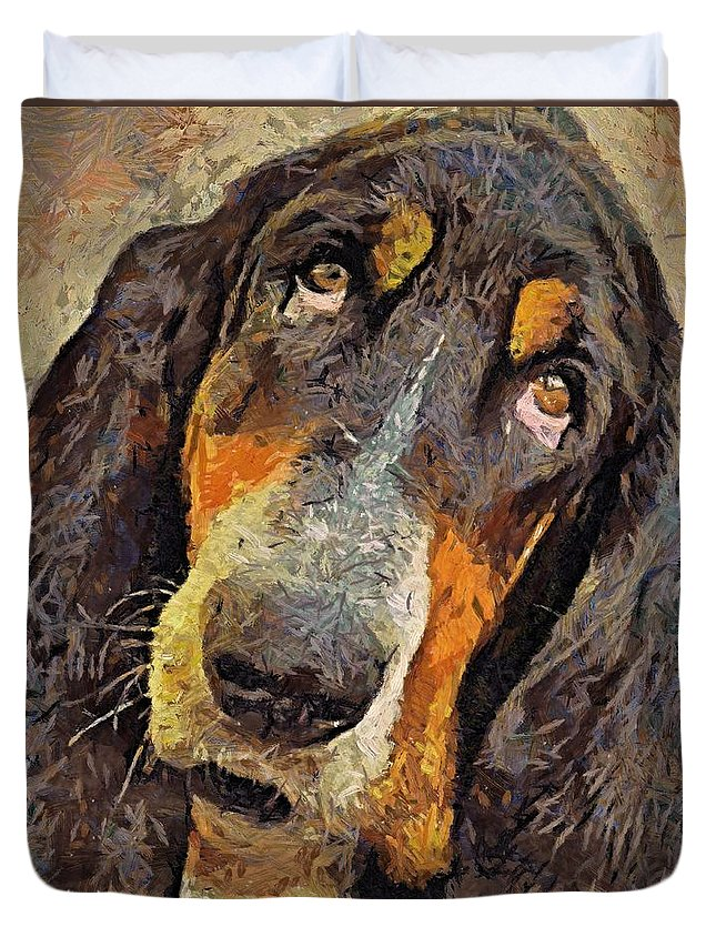 Sad Look Duvet Cover featuring the painting His Soft Sad Look by Dragica Micki Fortuna