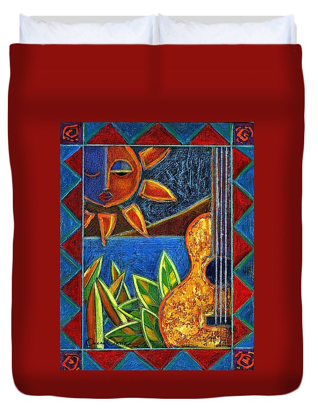 Guitar Duvet Cover featuring the painting Hispanic Heritage by Oscar Ortiz