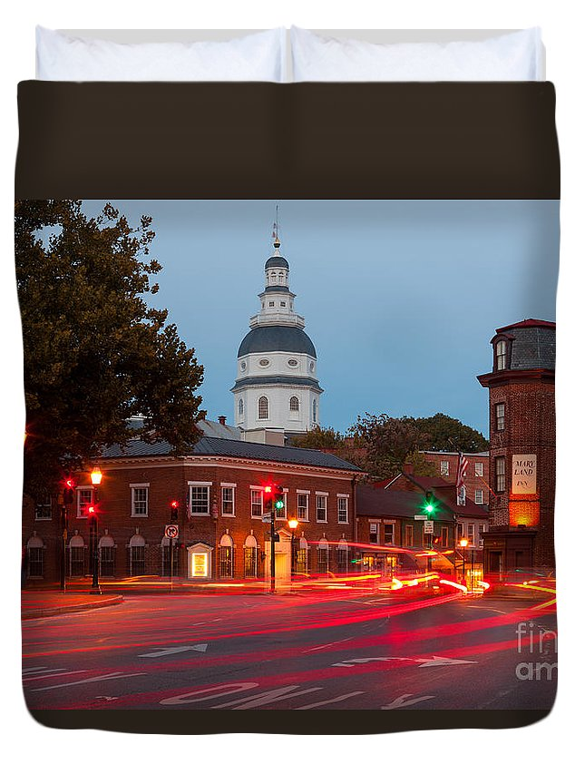Clarence Holmes Duvet Cover featuring the photograph Historic Annapolis And Evening Traffic II by Clarence Holmes