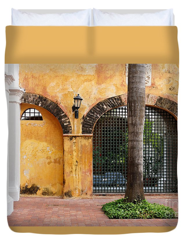 Arch Duvet Cover featuring the photograph Historic Colonial Courtyard In Colombia by Jannis Werner