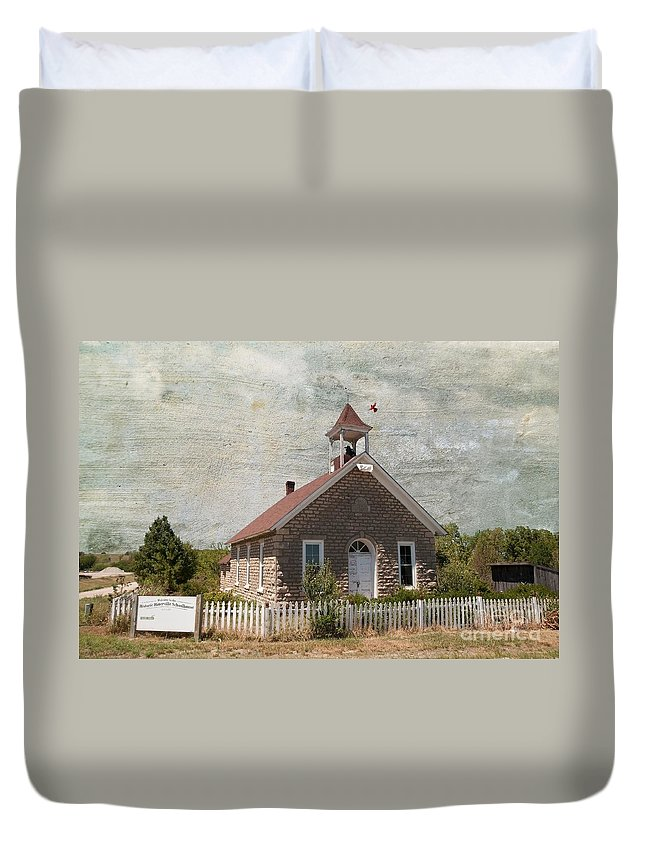 Old Duvet Cover featuring the photograph Historic Hinerville School House by Liane Wright