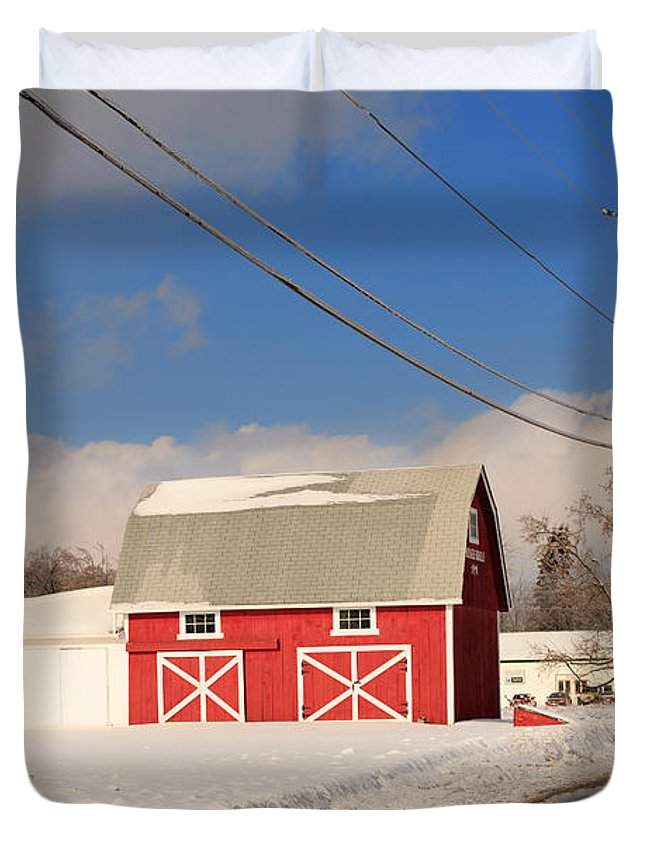 Red Duvet Cover featuring the photograph Historic Red Barn On A Snowy Winter Day by Louise Heusinkveld
