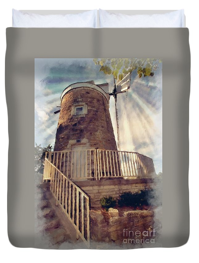 Mill Duvet Cover featuring the photograph Historic Schonhoff Dutch Mill by Liane Wright