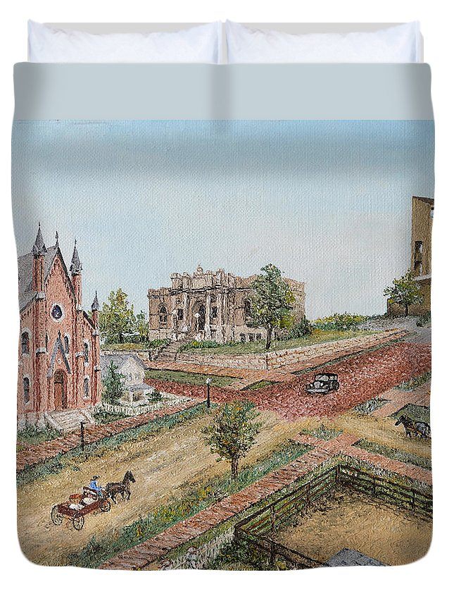 Streetcar Duvet Cover featuring the painting Historic Street - Lawrence Ks by Mary Ellen Anderson