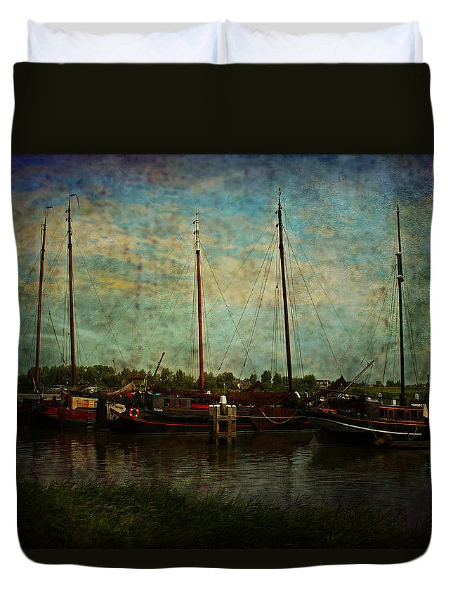 Haven Duvet Cover featuring the photograph Historical Harbor Woudrichem The Netherlands by Guna Andersone