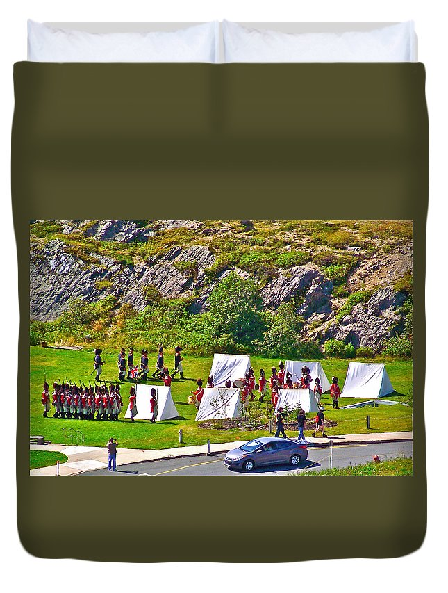 Historical Reenactment Near Visitor's Center In Signal Hill National Historic Site In Saint John's Duvet Cover featuring the photograph Historical Reenactment Near Visitor's Center In Signal Hill National Historic Site In St. John's-nl by Ruth Hager