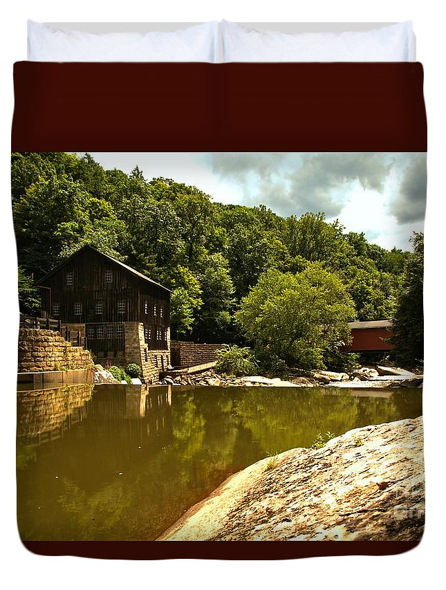 Mcconnells Mill State Park Duvet Cover featuring the photograph History Along Slippery Rock Creek by Adam Jewell