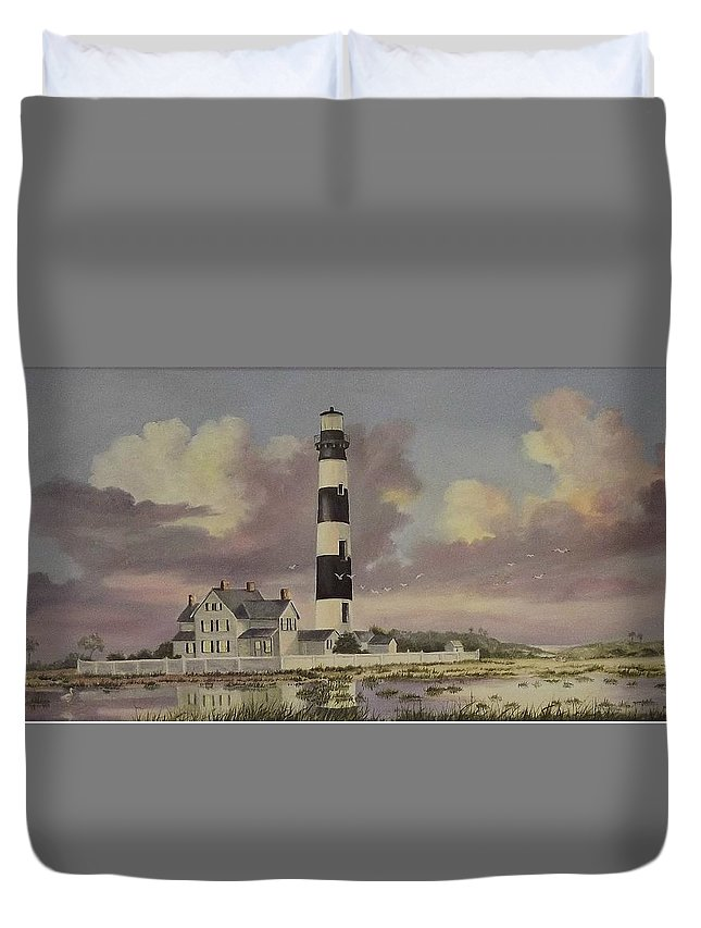 Lighthouse Duvet Cover featuring the painting History Of Morris Lighthouse by Wanda Dansereau