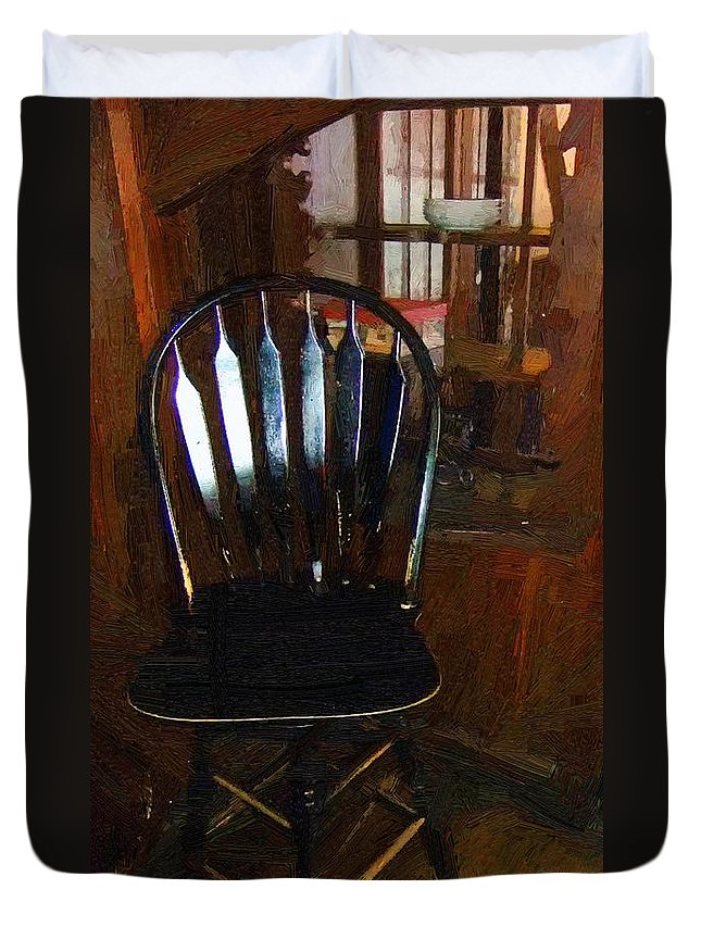 Americana Duvet Cover featuring the painting Hitchcock Chair In The Corner by RC DeWinter