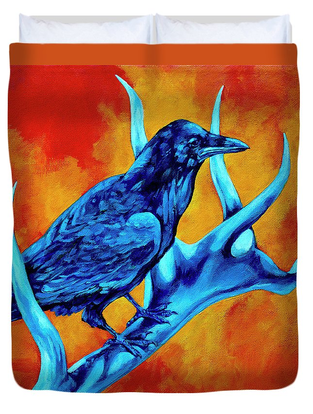 Elk Duvet Cover featuring the painting Hitchhiker by Derrick Higgins