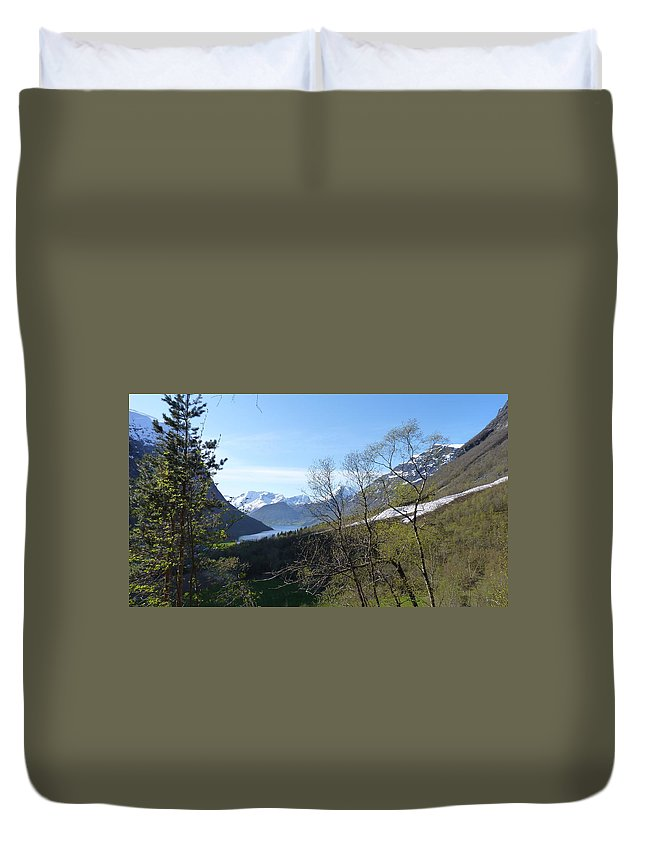 Duvet Cover featuring the photograph Hjorundfjord From Slogan by Katerina Naumenko