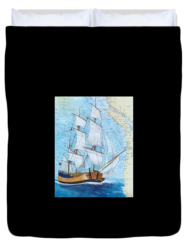 Three Duvet Cover featuring the painting Hms Endeavour Tall Sailing Ship Chart Map Art Peek by Cathy Peek